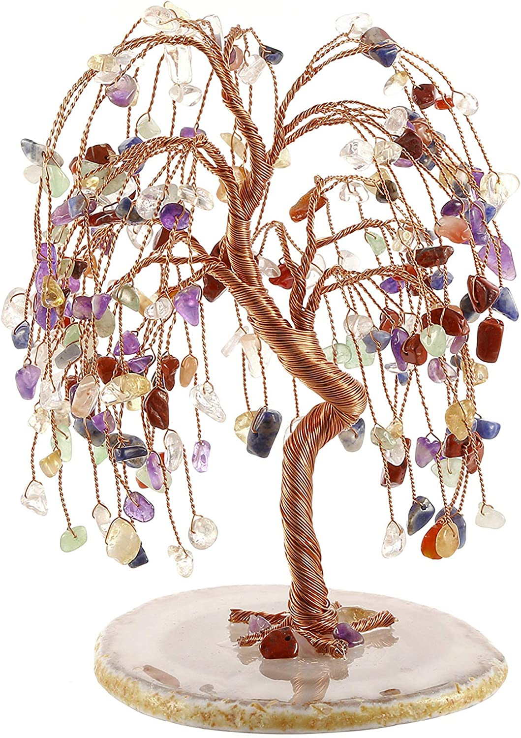 Jovivi Natural 7 Chakra Healing Crystals Quartz Tree Tumbled Gemstone Stones Money Tree, Geode Agate Slices Base Feng Shui Ornaments Home Decoration for Wealth and Luck 5.5