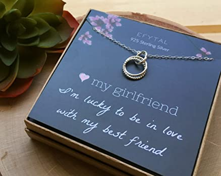 Amazon Com Efytal Girlfriend Gifts Girlfriend Birthday Gift Ideas For Her Romantic Sterling Silver 925 Studded Ring Interlocking Circles Necklace Jewelry For Women Cute Anniversary Valentines Day Present Clothing