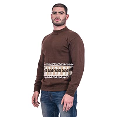 Gamboa - 100% Alpaca Crewneck Sweater - Brown with White Andean Details at Men's Clothing store