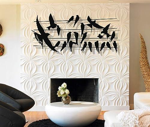 DEKADRON Metal Wall Art Metal Bird Flocks Wall Art 3D Wall Silhouette Metal Wall Decor Home Decoration Living Room Decor Metal Sign Wall Hangings 47″ W x 22″ H / 119×56 cm