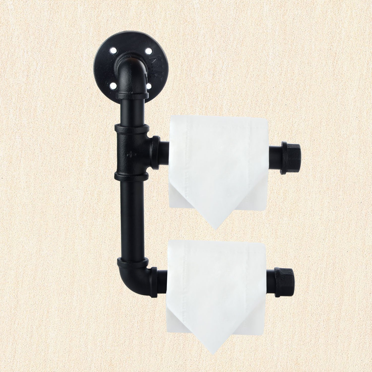 DOOLLAND Toilet Paper Holders Industrial Iron Pipe Shelf//Toilet Tissue Roll Holder Black with Wall Mounted Bathroom Shelf