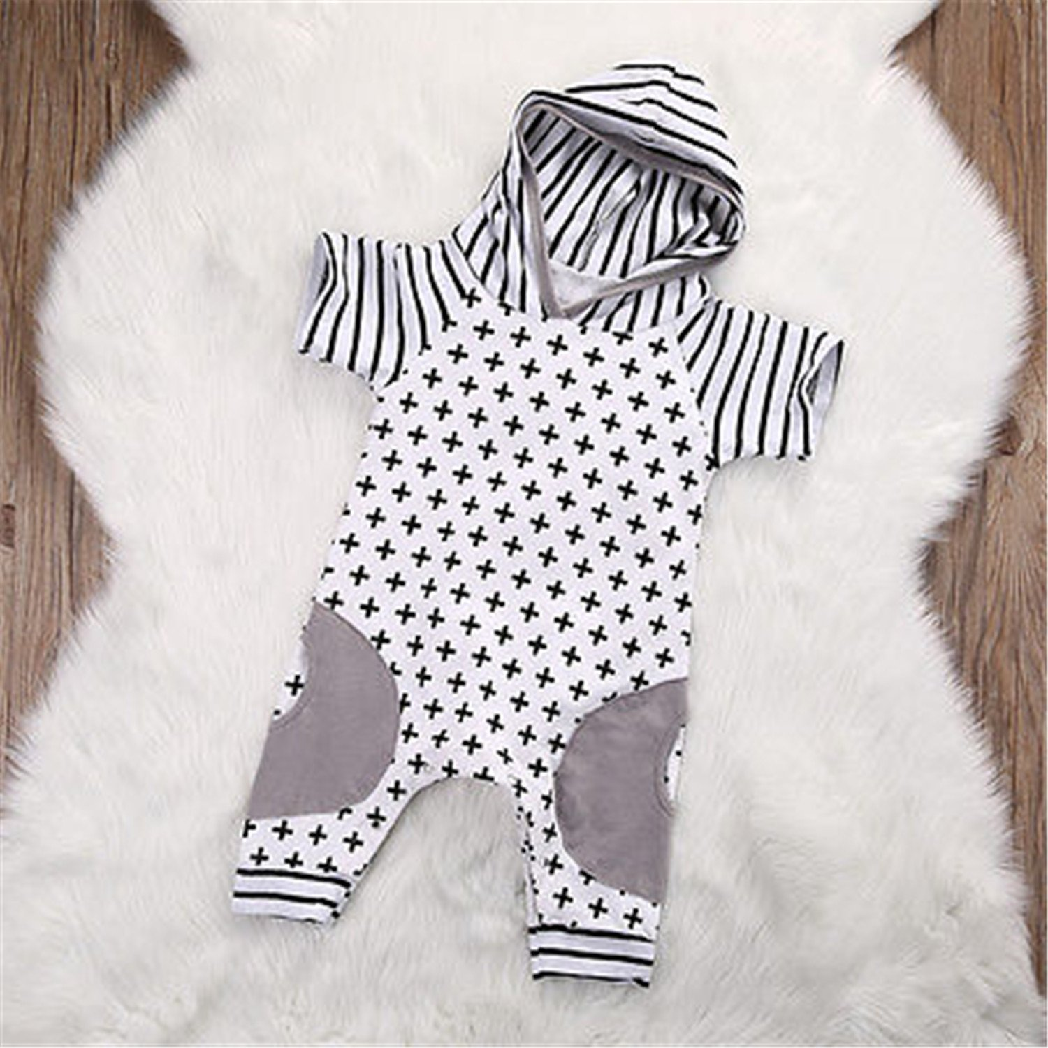 Susan1999 Cute Infant Baby Girls Boy Hooded Short Sleeve Striped Romper Cross Jumpsuit Playsuit Outfits Costume