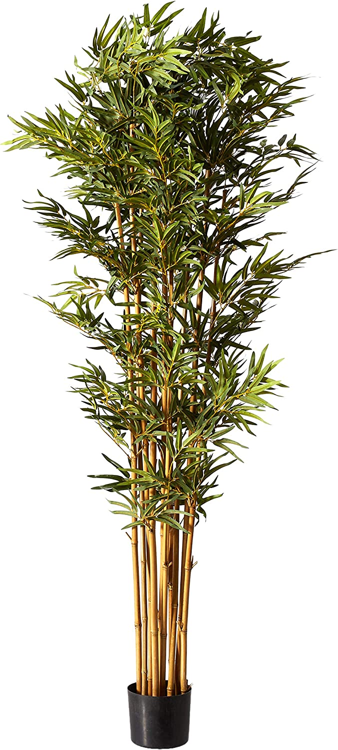 Nearly Natural 6' Curved Bamboo Silk Artificial Trees, 72in, Green