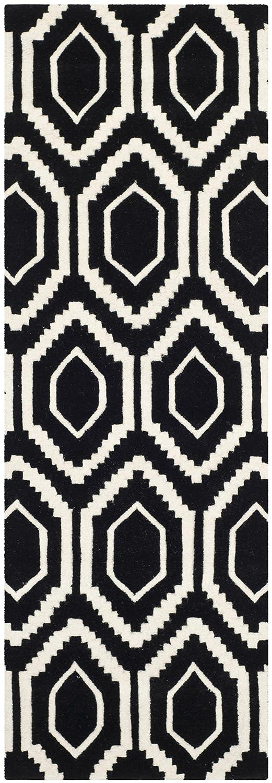 Safavieh Geometrisch gemusterter Teppich, CHT731, Gewebter Viskose Läufer, Schwarz/Elfenbein, 68 X 213 cm