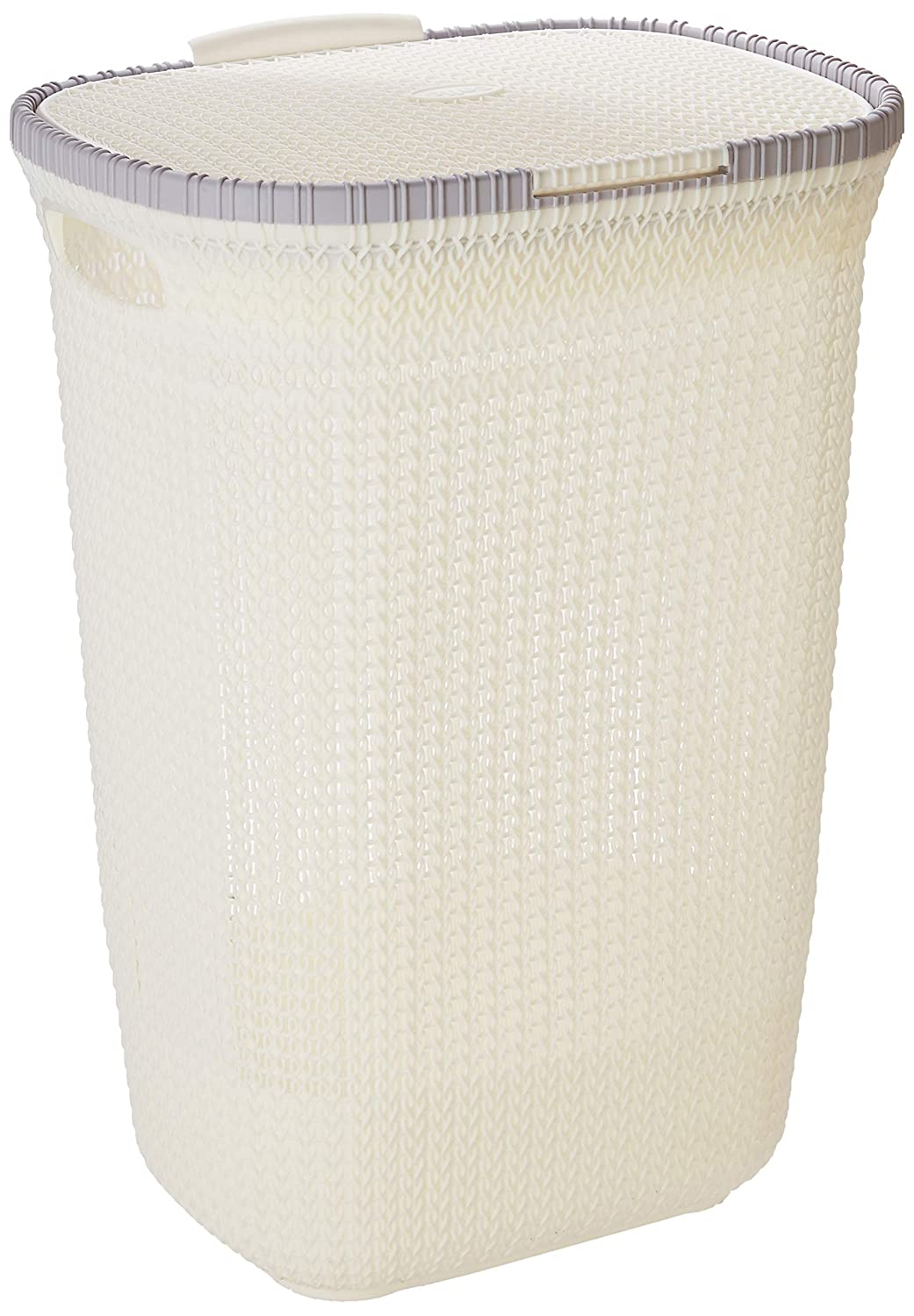Cello Creta Plastic Laundry Basket With Lid, Off White And Light Grey