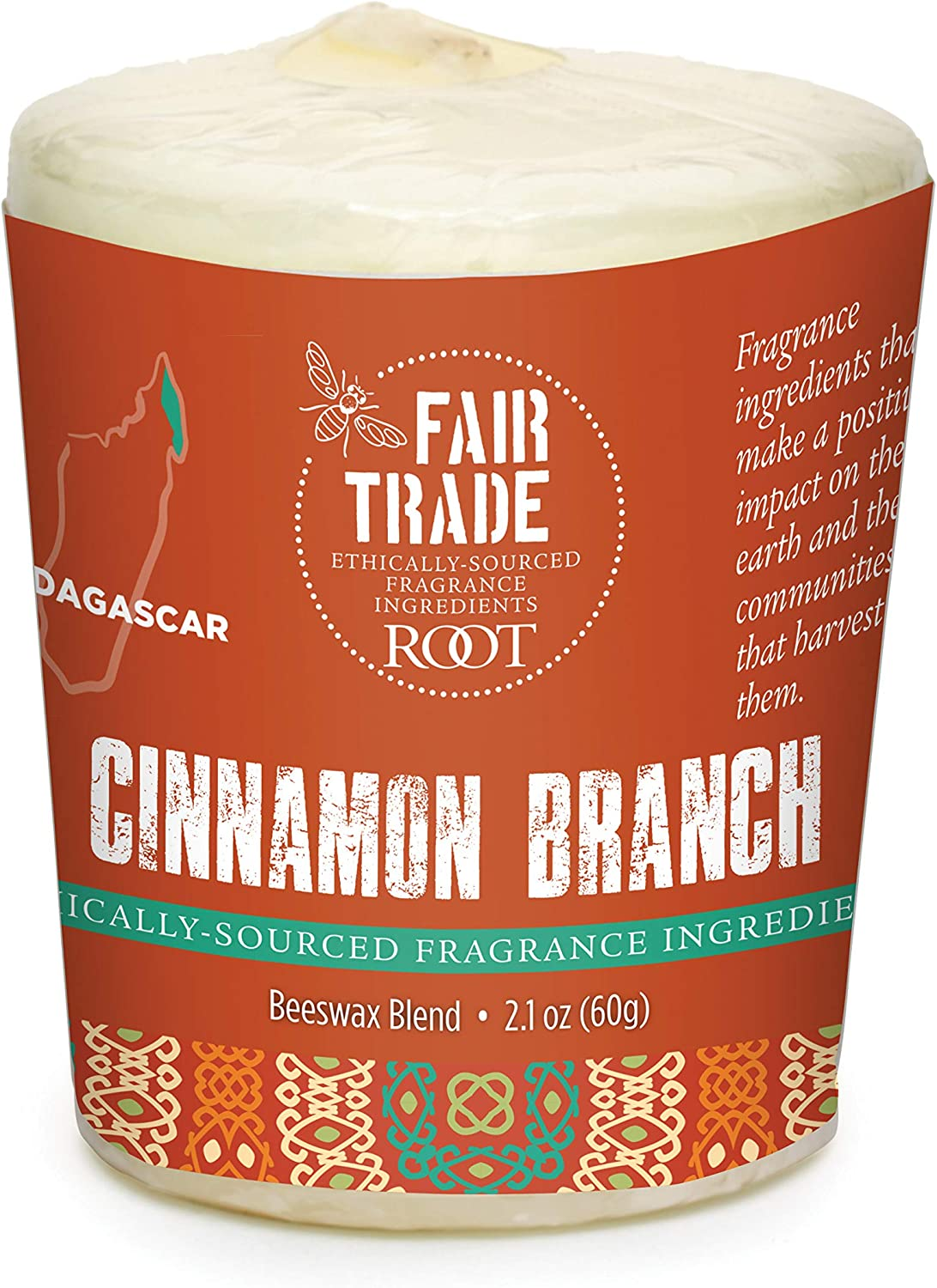 Root Candles Fair Trade Beeswax Blend 20-Hour Votive Candles, 18-Pack, Cinnamon Branch