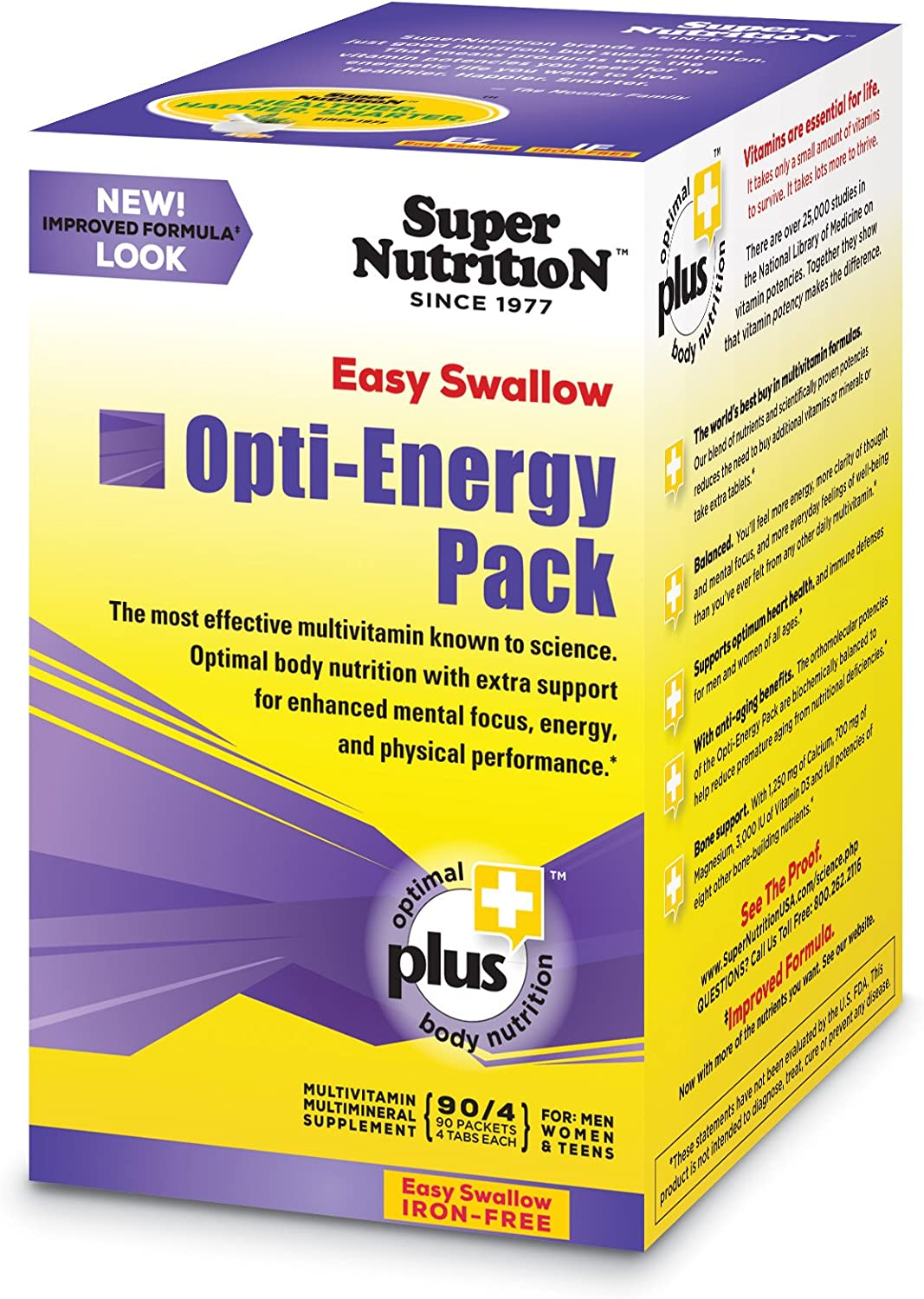 Super Nutrition, Opti-Energy Pack, EZ Swallow, Iron-Free, High Potency Multi-Vitamin, 30 Packets