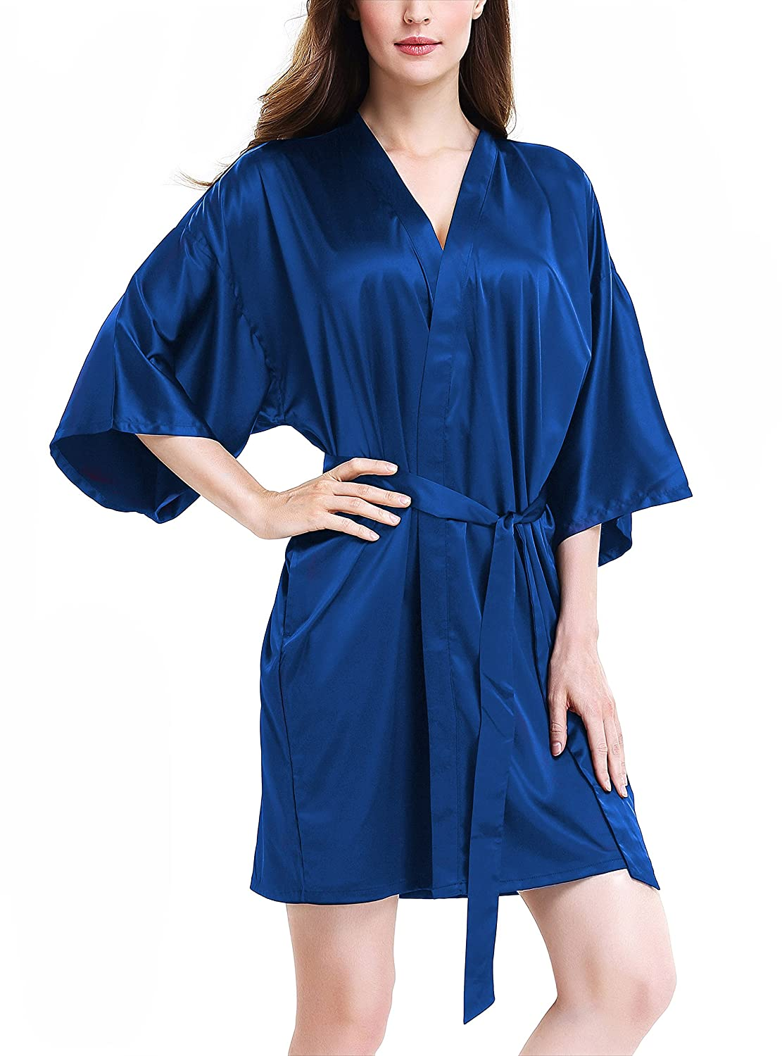 Sapphire Genuwin Womens Silk Robe Kimono Robe Bridesmaid Satin Robe Knee Length Women Robes SXL