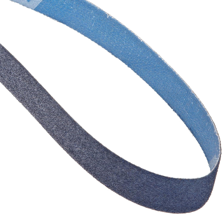 37 Width Grit 80 Waterproof 60 Length Norton BlueFire R823P Cloth Abrasive Belt Polyester Backing Pack of 3 Zirconia Alumina