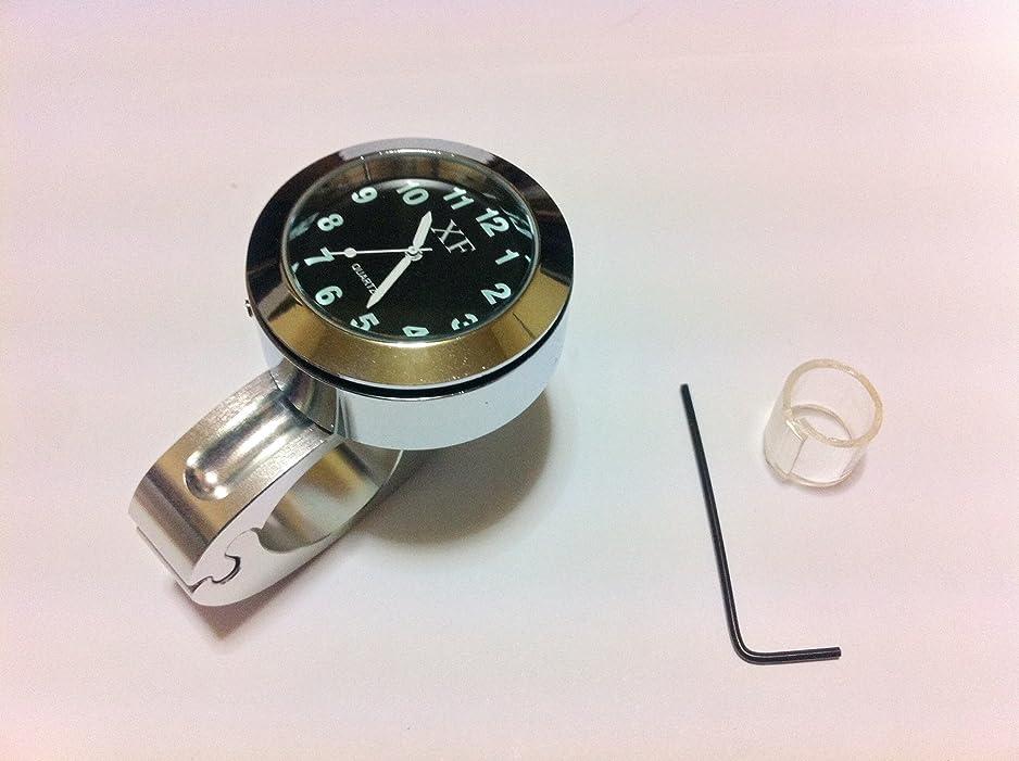 描写噛むバイオリンバイク オートバイ用 アナログ時計 バーマウント 白 取付工具付き