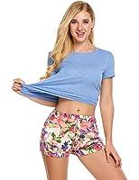 Ekouaer Women Short Sleeve Pajama Set Round Neck Sleepwear with Floral Printed Pants