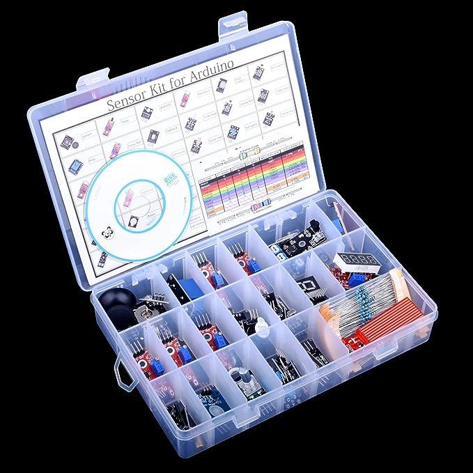 Quimat Kit Sensores Arduino 39 pcs con Tutorial para Uno R3 Raspberry Pi 3 2 Mega Due Nano Programación de Arduino QK5: Amazon.es: Electrónica