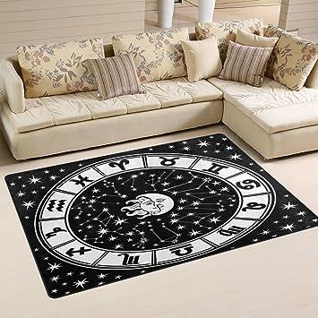 Amazon Com Lorvies Horoscope Circle Black And White Zodiac Sign Area Rug Carpet Non Slip Floor Mat Doormats For Living Room Bedroom 60 X 39 Inches Furniture Decor