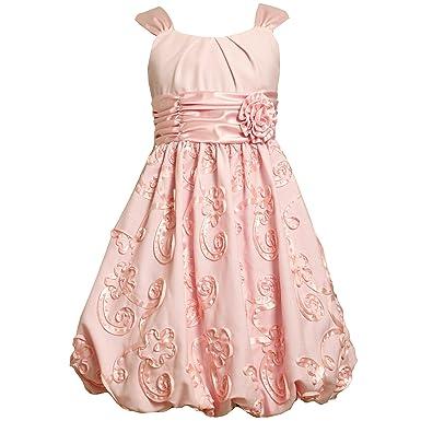 fe4e3ae60 Amazon.com  Bonnie Jean Size-10 BNJ-7019R PINK LINEN and SATIN ...