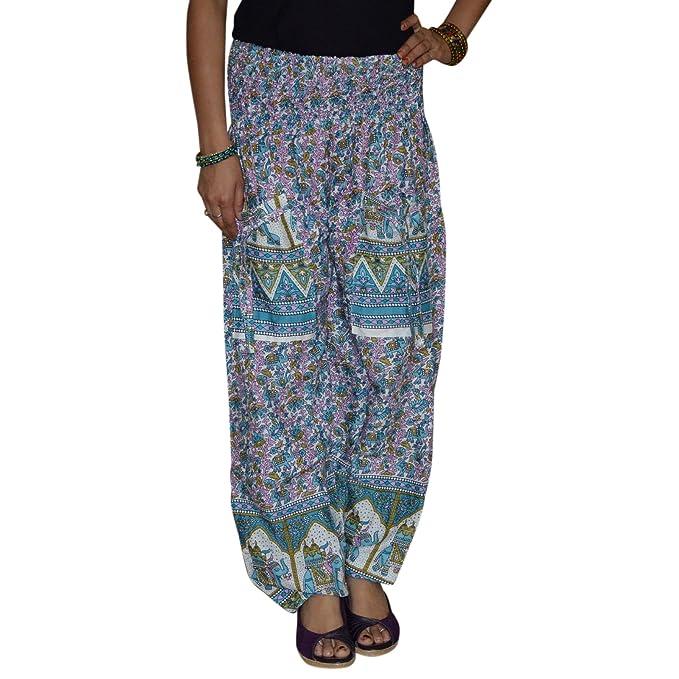 Marusthali Indio de algodón pantalones de para fiesta vestidos Printed Hippie mujeres pantalones harén pantalones Blue & Green talla única: Amazon.es: Ropa ...