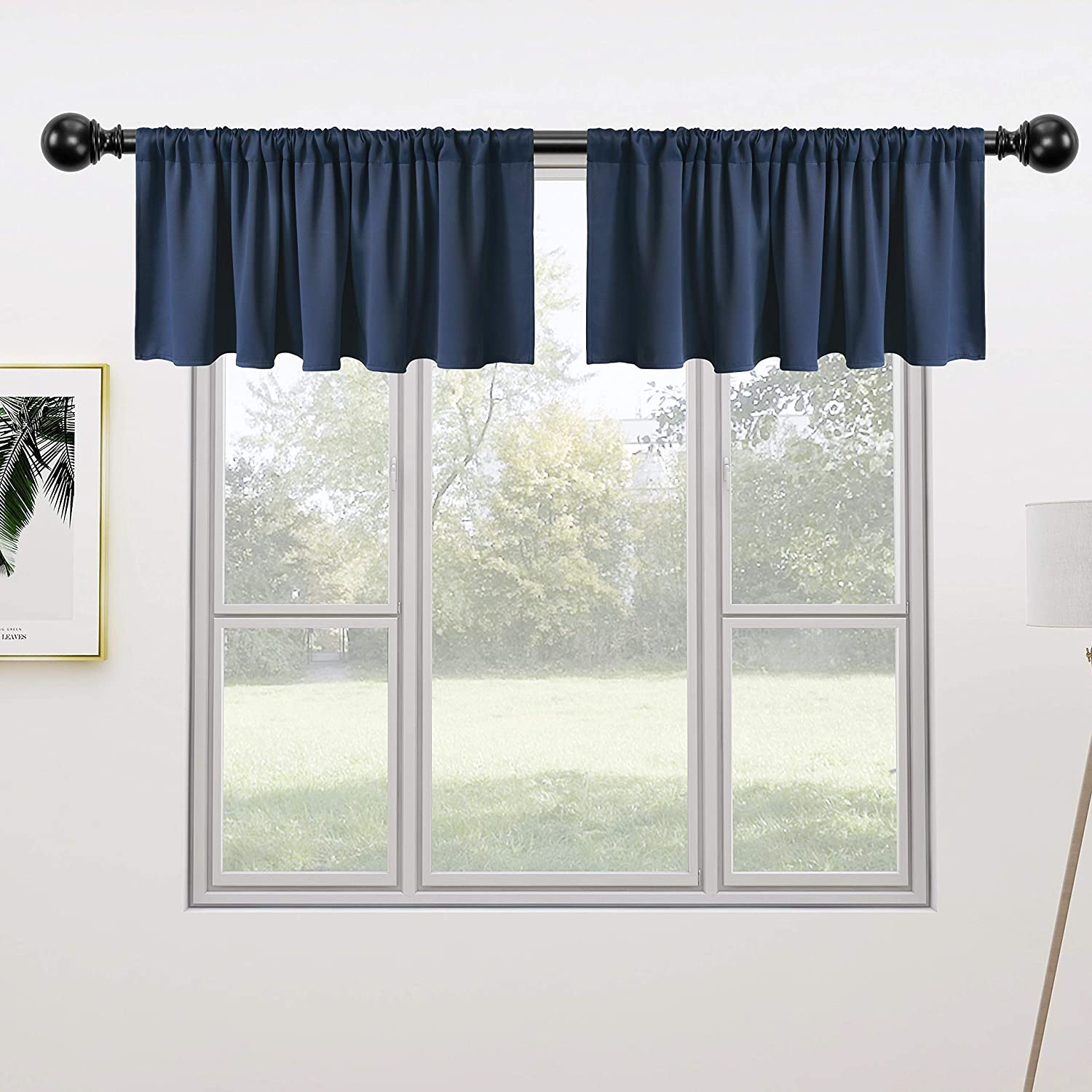 Rod Pocket Short Blackout Curtain for Small Windows 42 x 18 inch Long Thermal Window Treatment and Room Darkening Cafe Curtain Panels 2 Pieces Beige FLOWEROOM Valance Kitchen Curtains Set