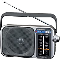 $27 » Panasonic Portable AM / FM Radio, Battery Operated Analog Radio, AC Powered, Silver (RF…
