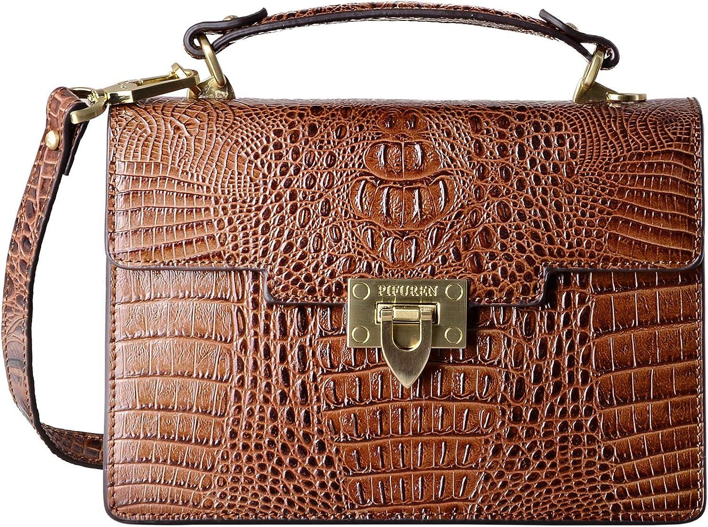 PIFUREN Small Crossbody Handbags for Women Crocodile Top Handle Satchel Bags
