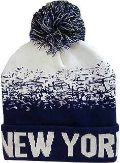 56d356acc57 New York City NY Men s 2-Tone Winter Knit Pom Beanie Hats (Black ...
