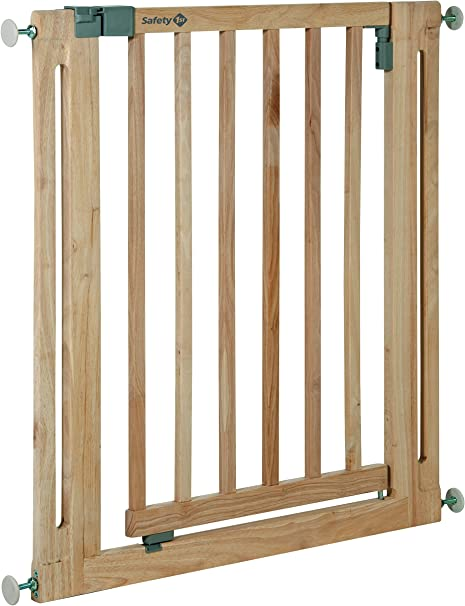 Safety 1st Easy Close Wood Barrera de seguridad de Madera, puerta de seguridad 73 cm hasta 96, 5 cm con extensiones, para niños y perros, color madera natural: Amazon.es: Bebé