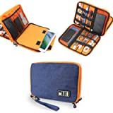 Electronics Accessories Organizer Bag,Portable Tech Gear Phone Accessories Storage Carrying Travel Case Bag, Headphone Earphone Cable Organizer Bag (L-Blue)