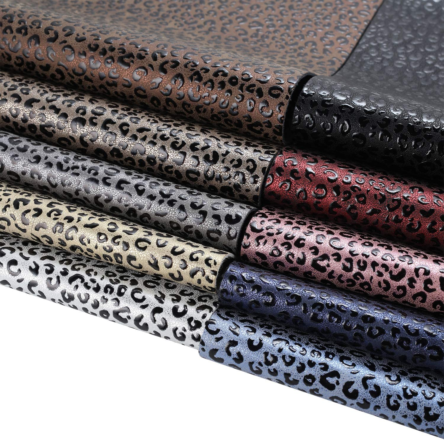 Embossed Synthetic Fabric 1 mm Thickness Assorted Color SHUANGART 10 Pieces Leopard Printed Fauxs Leather Sheets【8 X 12//21 X 30 cm】for Bows Earrings Purse Handbags Crafts Jewelry Making