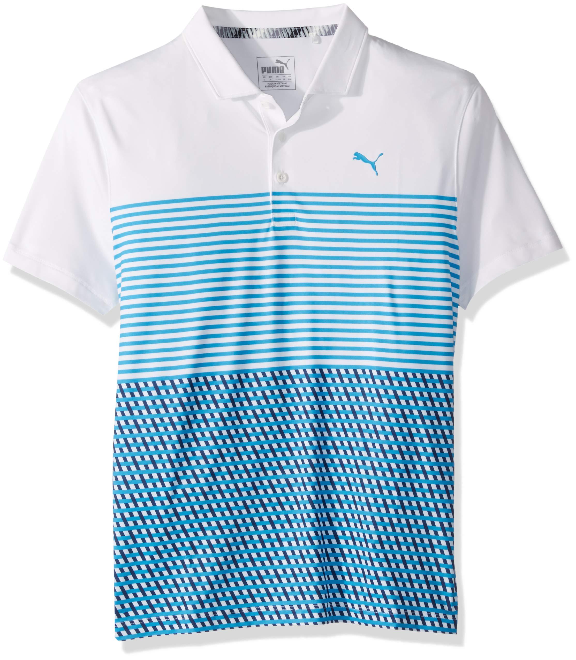 Puma Golf Boys 2019 Road Map Polo, Bright White-Bleu Azure, Medium