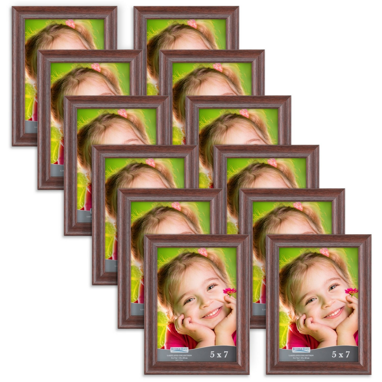 Icona Bay 5x7 Picture Frame (12 Pack, Teak Wood Finish), Photo Frame 5 x 7, Composite Wood Frame for Walls or Tables, Set of 12 Lakeland Collection by Icona Bay