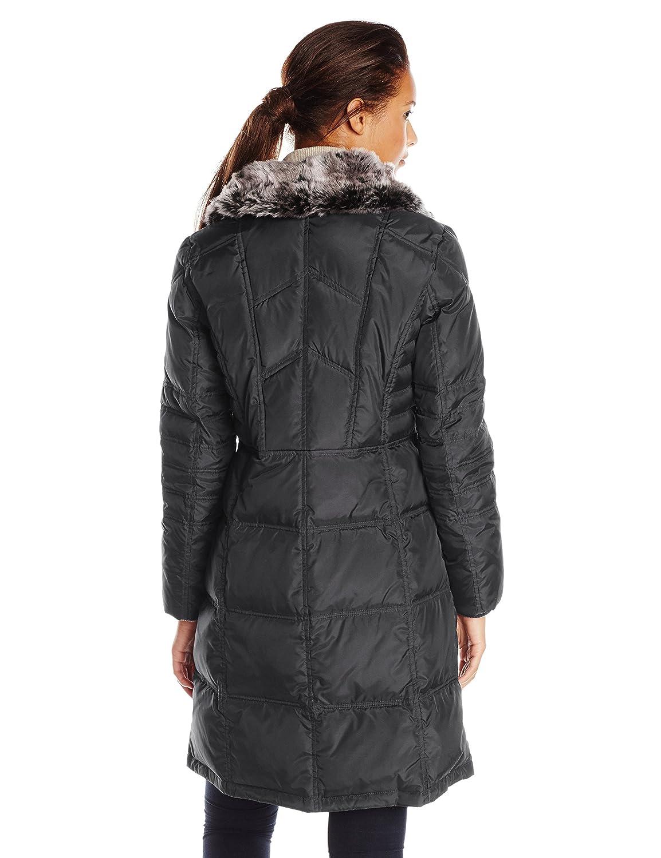 2fb05209e Amazon.com: London Fog Women's Chevron Coat with Faux-Fur Trim: Clothing