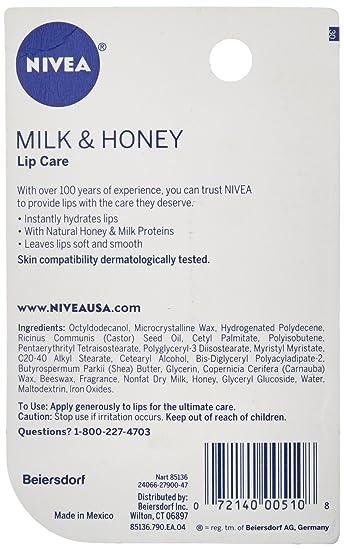 NIVEA A Kiss of Milk & Honey Natural Defense & Soothing Lip ...
