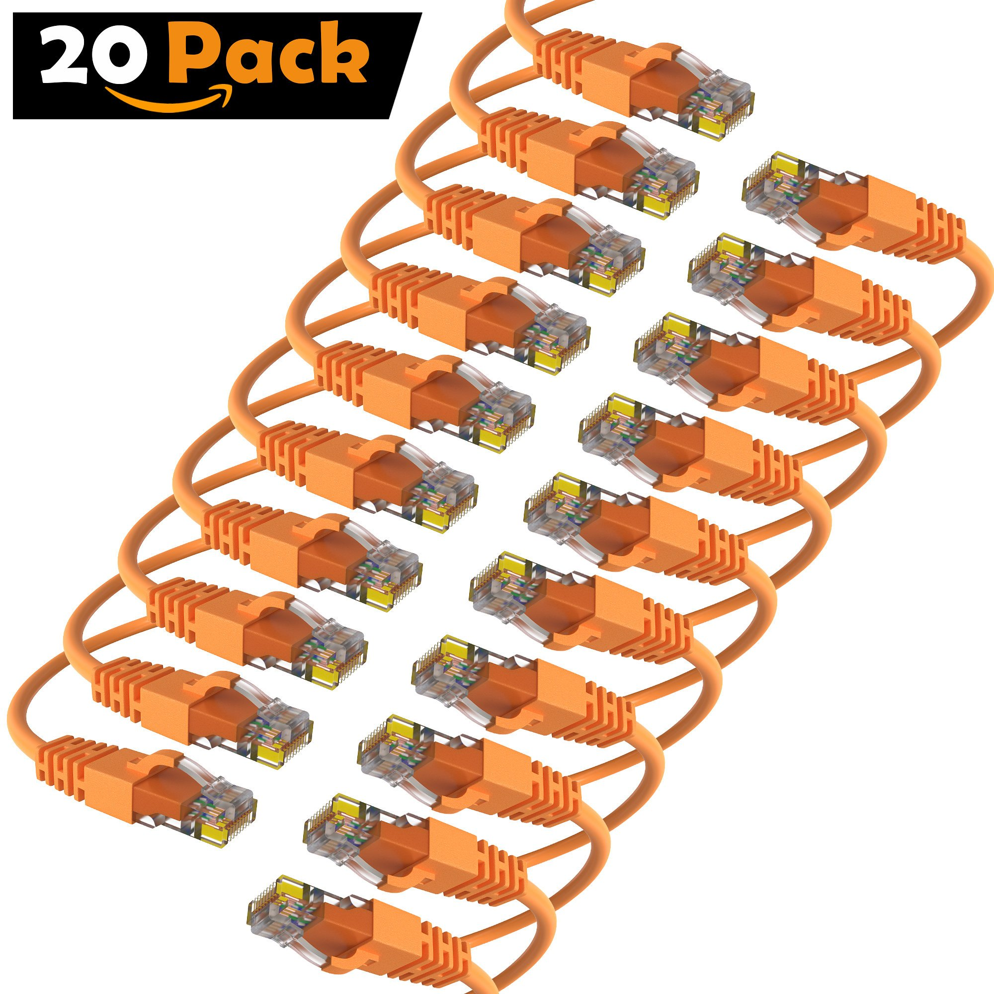 Maximm Cat6 Snagless Ethernet Cable - 15 Feet - Orange - [20 Pack] - Pure Copper - UL Listed - Cable Ties Included