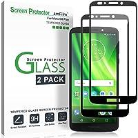 Moto G6 Play Screen Protector Glass (2 Pack), amFilm Full Cover Tempered Glass Screen Protector with Dot Matrix for Motorola Moto G6 Play (Black)