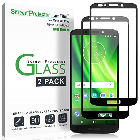 amFilm Glass Screen Protector for Moto G6 Play, Tempered Glass 2018 (Model  Number XT1922) (2018)