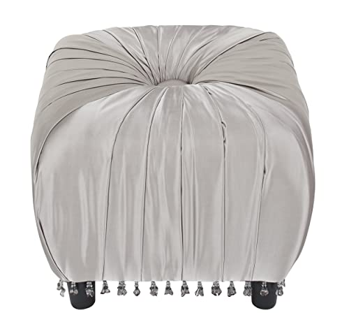 Jennifer Taylor Home Gracie Collection Modern Textured Fold, Hand Tufted Living Room Square Ottoman with Beaded Trim Tassels, Silver