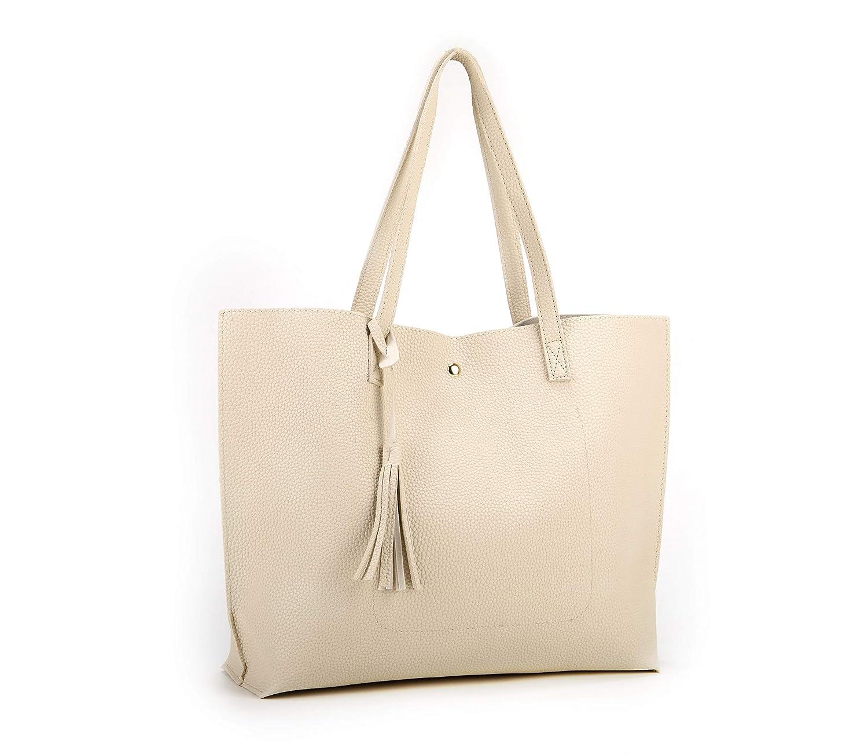 4537d2c578 Amazon.com  Nodykka Women Tote Bags Top Handle Satchel Handbags PU Pebbled  Leather Tassel Shoulder Purse (Beige)  Shoes