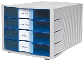 HAN 1010-X-64 - Cajón archivador de oficina 294 x 368 x 235 mm 4 cajones color azul translúcido: Amazon.es: Hogar