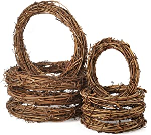 Sntieecr 8 PCS 2 Sizes Natural Grapevine Wreath Rings, Rattan Vine Branch Wreath Hoop for DIY Easter Craft Holiday Party Decors (4 & 6 Inch)
