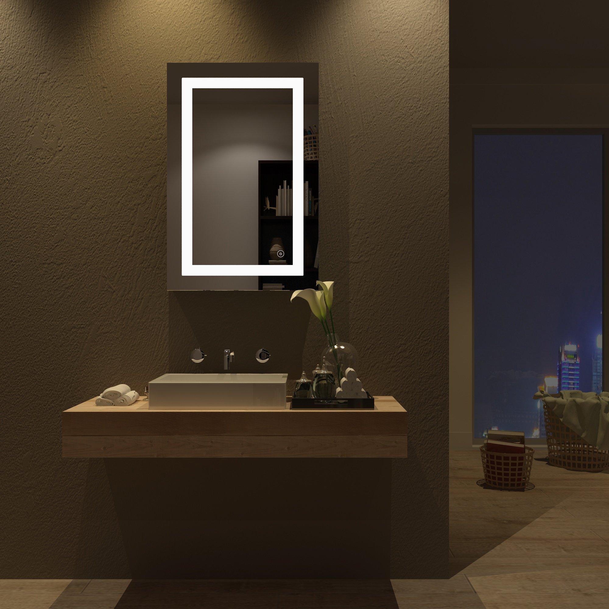 home sceva led lighted mirrors vanity bathroom frameless backlit wall mirror 756832435168 ebay. Black Bedroom Furniture Sets. Home Design Ideas