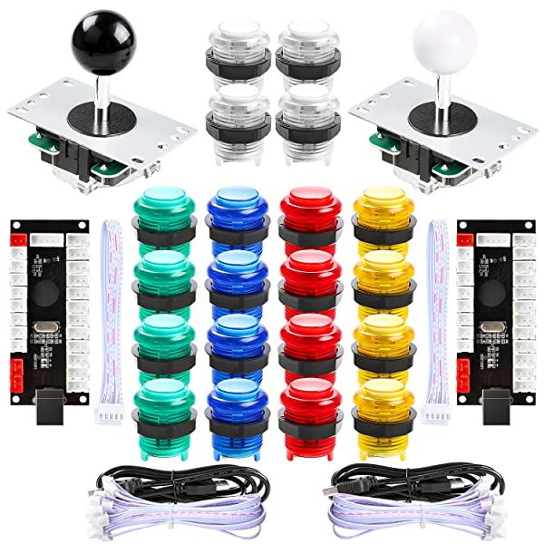 Hikig 2 Player LED Arcade Games DIY Parts Kit 2X USB Encoders + 2X Arcade Joysticks + 20x LED Arcade Buttons for Raspberry Pi and Windows (Color: Multicolor)