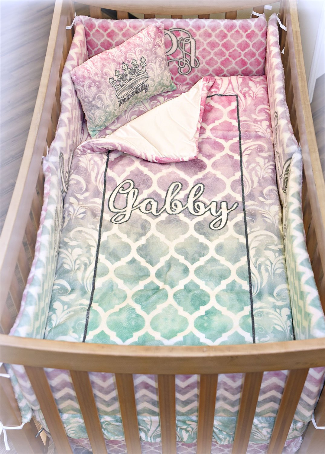 Kissing Birds Crib Fitted Sheet (Personalized) by RNK Shops (Image #5)