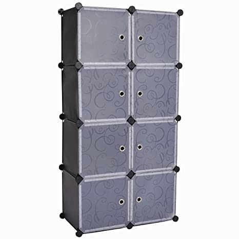 Cu0026AHOME 8 Cube Storage Organizer Toy Rack Cabinet Wardrobe DIY Black Closet  With White Doors