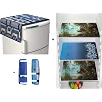Unique Productions™ Combo of Designer Refrigerator Cover(Blue), 2 Handle Cover (Blue) and 3 Reversible Fridge Mats (Printed) Standard Size; -Set of 6 Pieces