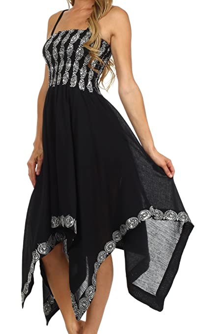 Sakkas 5502 Delia Sequin Handkerchief Hem Dress - Black - One Size: Amazon.co.uk: Clothing