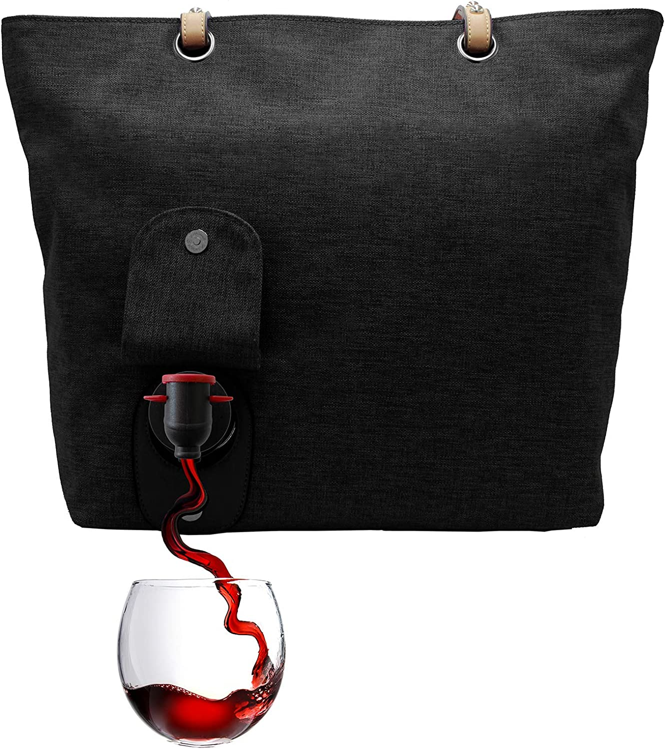 PortoVino City Wine Tote Black - Fashionable Wine Purse with Hidden, Insulated Compartment, Holds 2 Bottles of Wine! Great Gift! - Happiness Guaranteed!