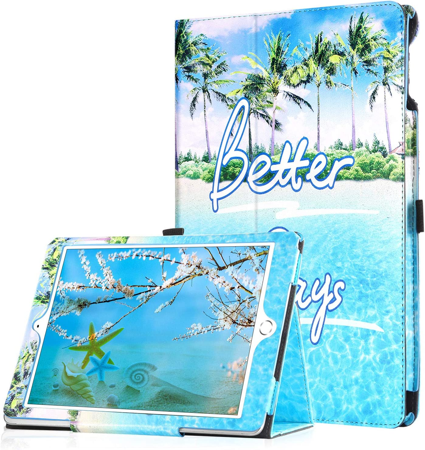 iPad Air 2 Case,iPad Air 1 Case,iPad 9.7 2018/2017 Case,BENTOBEN Fashionable Slim Faux Leather Folio Stand Smart Tablet Cover Auto Wake/Sleep Protective iPad Case for Air 1/2,iPad 9.7 2018/2017, Blue