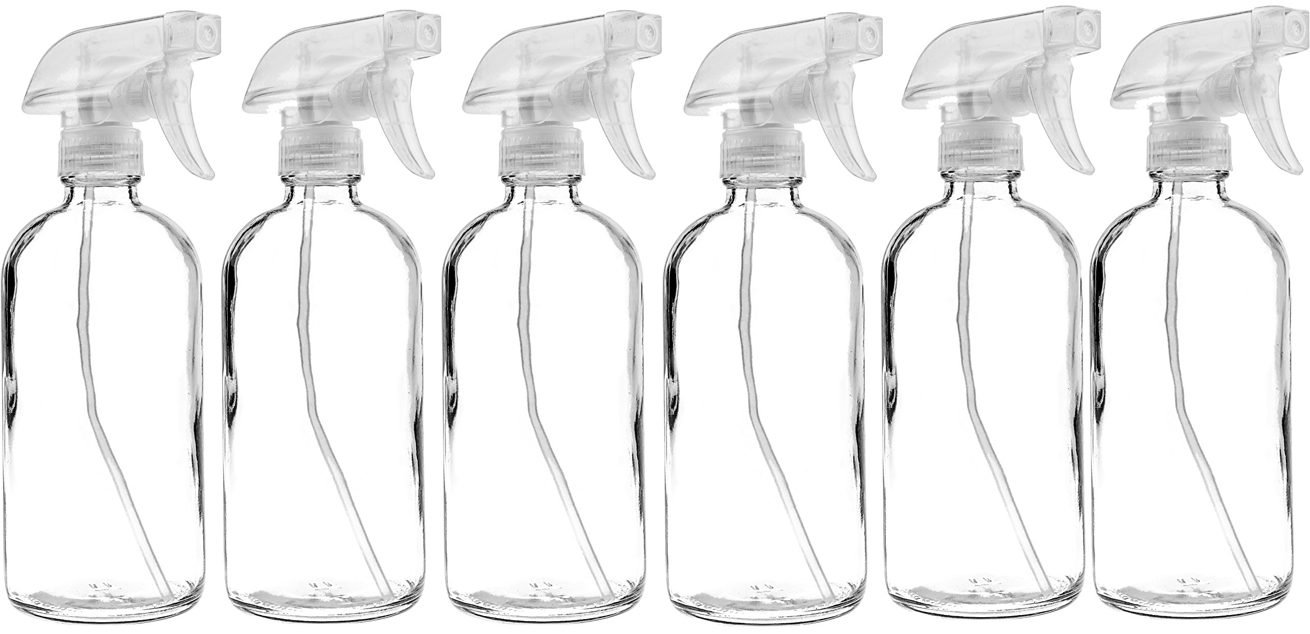 6 Pack of 16 oz Refillable Clear Glass Spray Bottles - Reusable Containers with Adjustable Sprayer: Misting & Stream - for Essential Oils, Cosmetics, Cleaning Products, Plants, Cooking, Aromatherapy by Sally's Organics