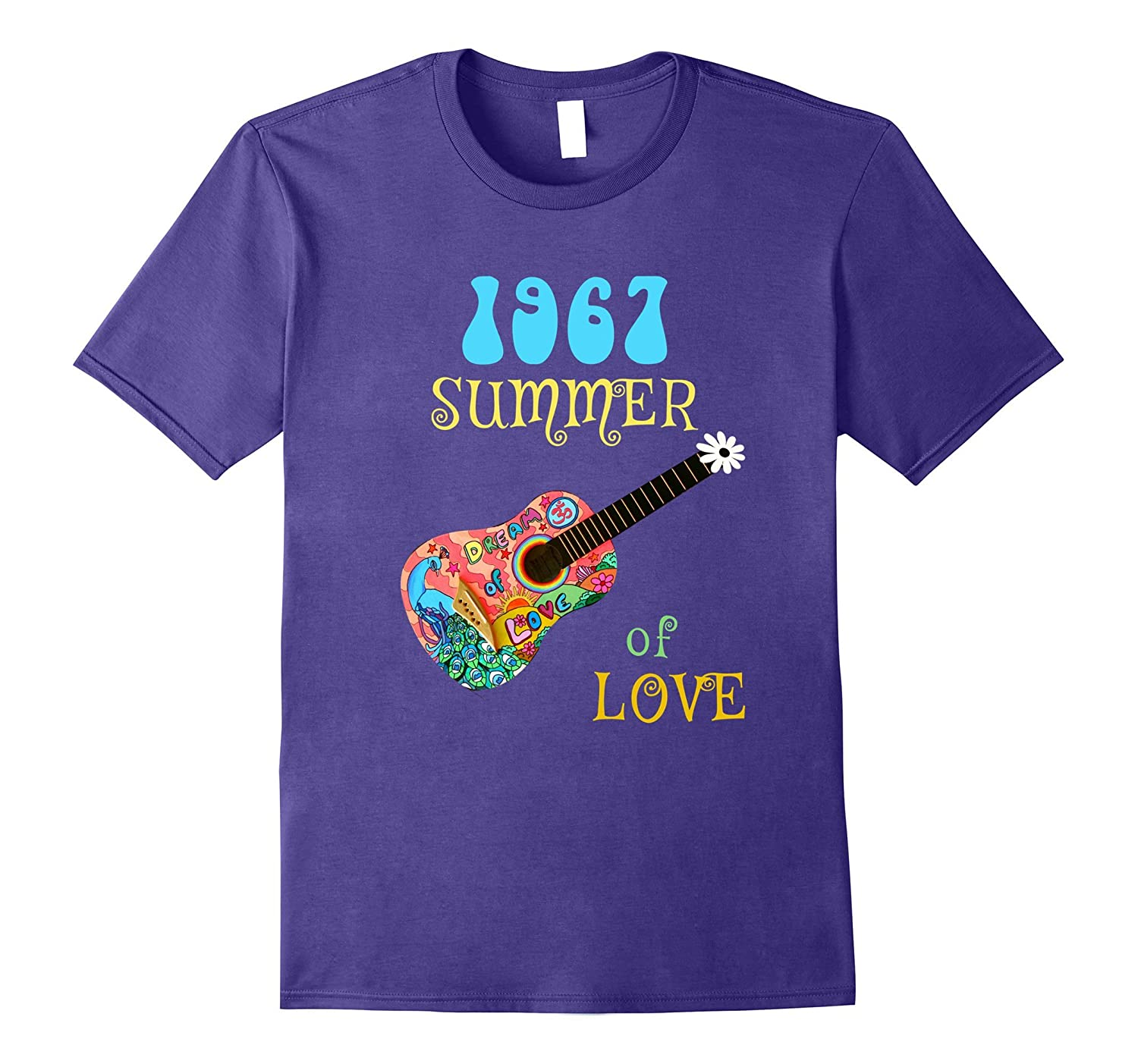 1967 Summer of Love Hippie Peacock Guitar T-shirt-CD