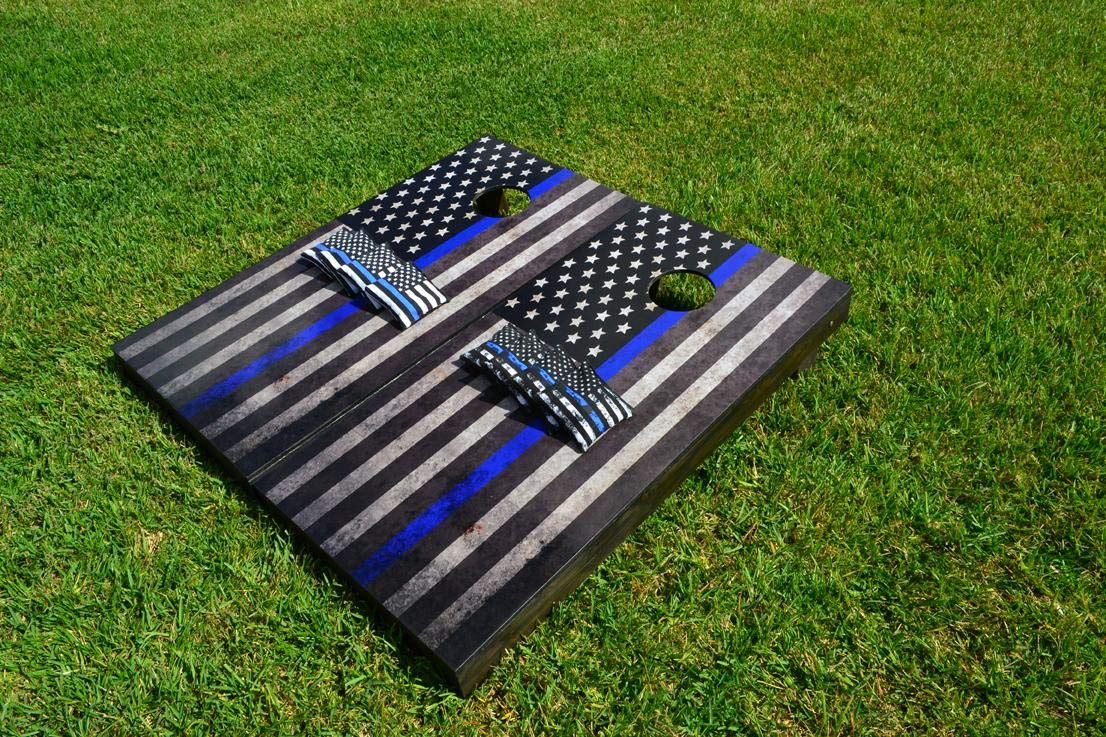 Skip's Garage アメリカ国旗 細いブルーライン コーンホールボード - サイズとアクセサリーをお選びください - ボード2枚 バッグ8枚 B07PGR67Z2   B. All Weather Bags, ナルトシ 123dc93b