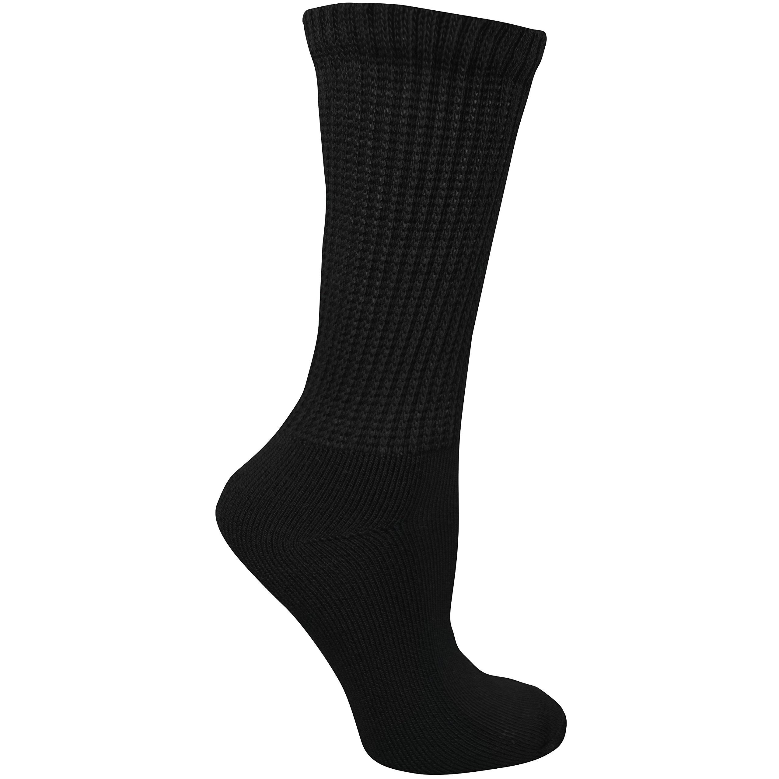 Dr. Scholl's Women's Guaranteed Comfort Diabetic and Circulatory crew 4 Pack Socks ,Black, 4-10