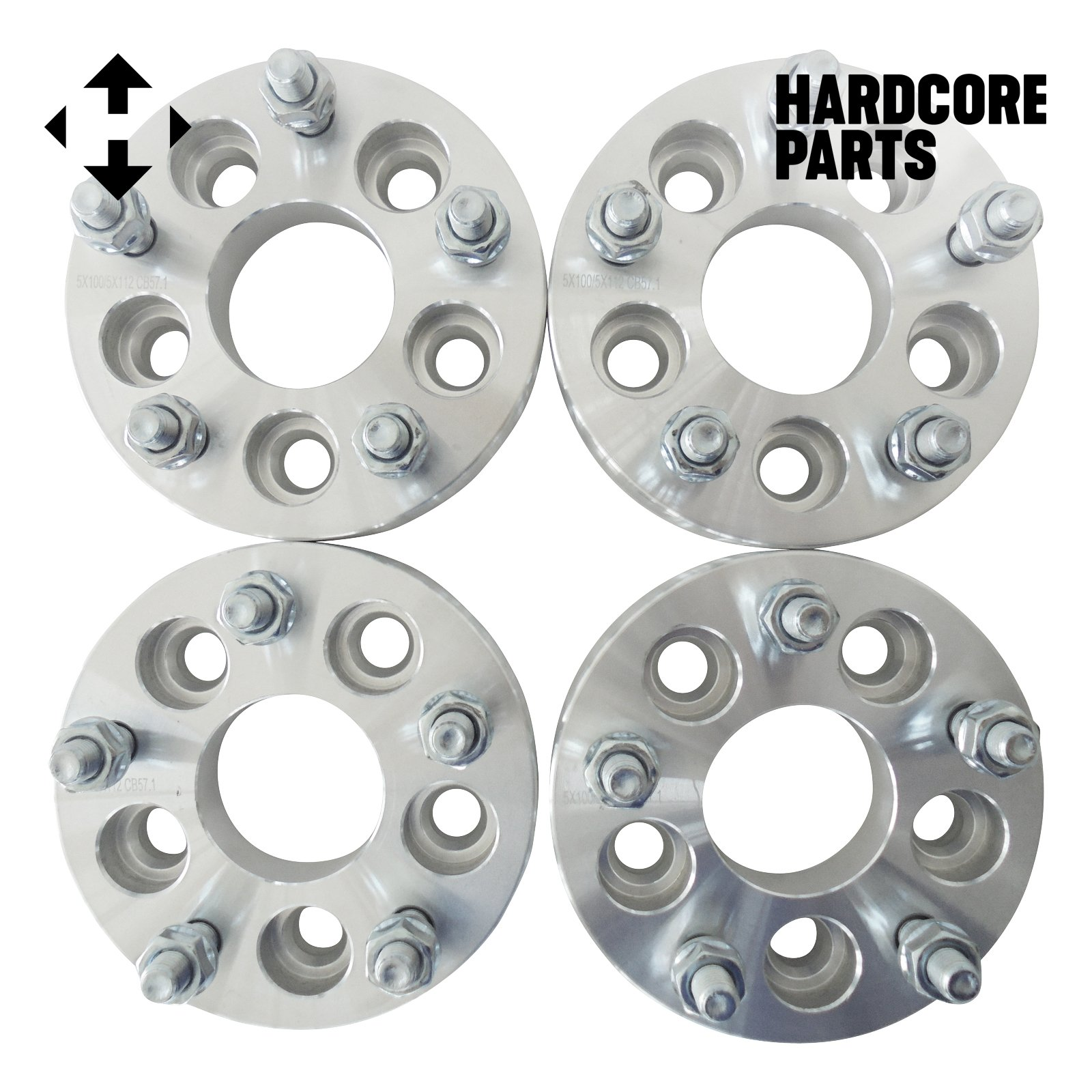 (4pc) 2'' (1'' per side) 5X100 to 5x112 Wheel Spacers Adapters M12x1.5 studs - SmartPartsCo